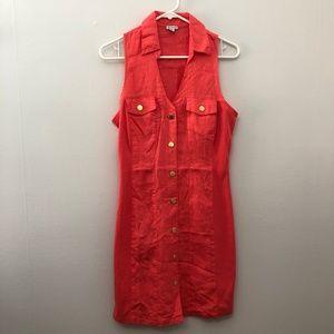 Guess Coral Linen Button Up Sleeveless Dress NWOT